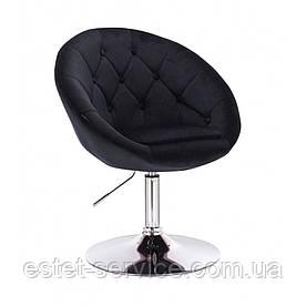 Кресло клиента HC8516 на низкой барной основе в ЦВЕТАХ велюр с пуговицами