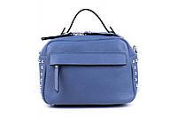Итальянская женская сумка из натуральной кожи. Цвет: Темно-голубой, фото 1