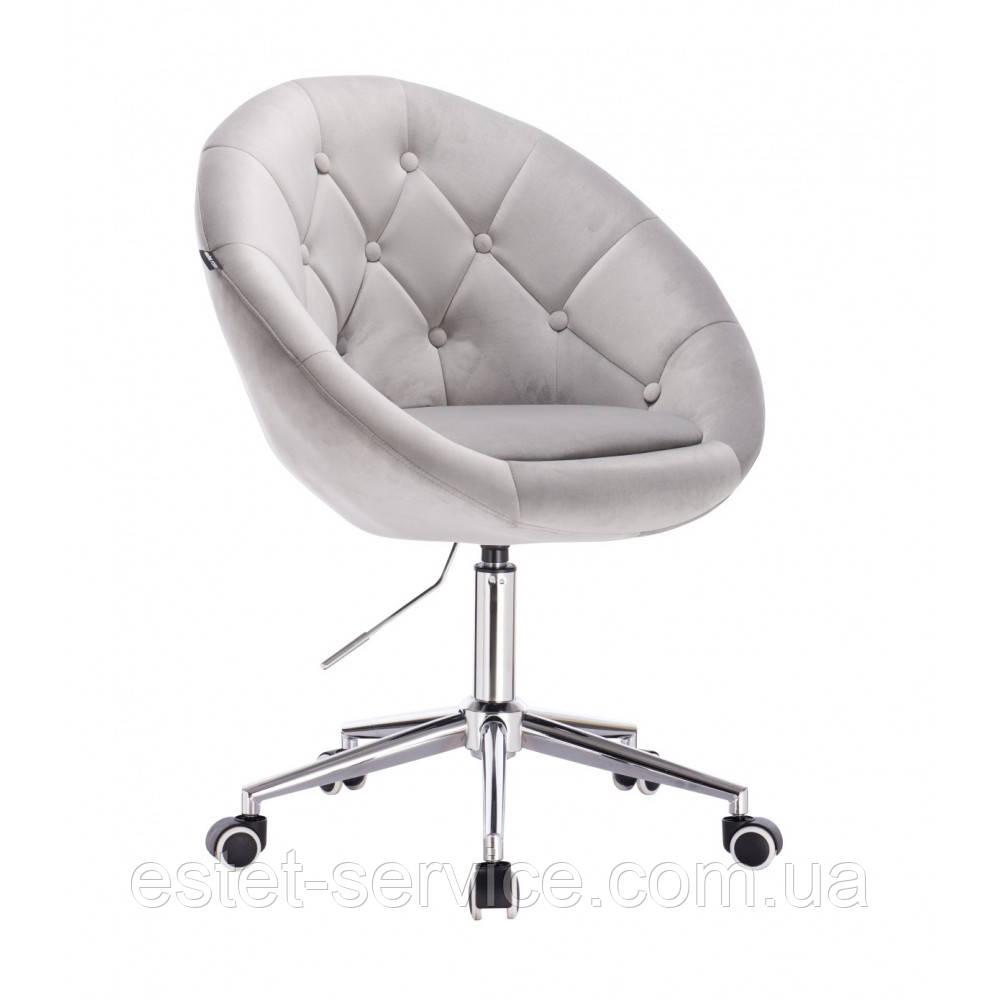 Косметическое кресло HR8516K на хром колесах в ЦВЕТАХ велюр с пуговицами
