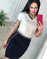 Модне літнє трикотажне турецьке плаття, чорно-біле