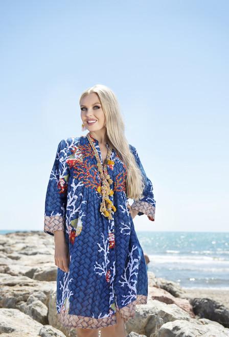 Туника, платье летнее синее из хлопка Индиано 2172