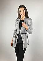 Женский стильный кардиган короткий летний с длинным рукавом цвет светло-серый бренд VCS  S