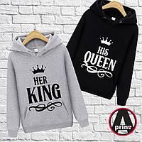 """Печать на парной одежде. Парные Толстовка Печать на толстовках. Худи с принтом """"Her King his Queen"""""""