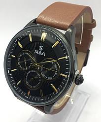 Часы Slava кварцевые коричневый кожаный ремешок