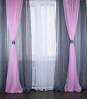 Комплект декоративных портьер из шифона с подхватами, цвет светло-серый с розовым 005дк(1,5*2,8) 10-020