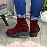 Ботинки женские замшевые демисезонные на утолщенной подошве, фото 2