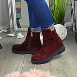 Ботинки женские замшевые демисезонные на утолщенной подошве, фото 3