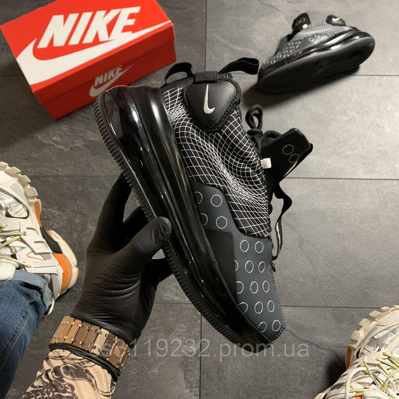 Мужские кроссовки Nike Air Max 720 Sneakerboots Black White (черные)