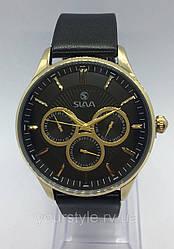 Часы Slava кварцевые черный кожаный ремешок