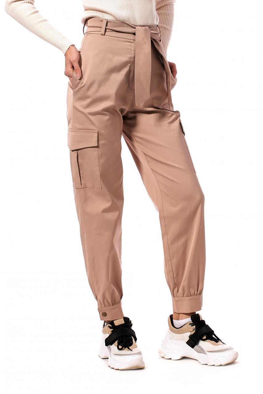 Молодіжні стильні штани з котону з кишенями і поясом 42-50