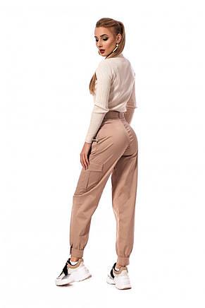 Молодіжні стильні штани з котону з кишенями і поясом 42-50, фото 2