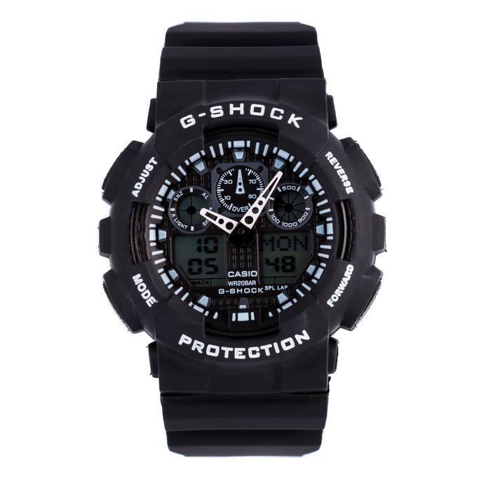 Спортивные мужские наручные часы годинник Casio G-Shock ga-100 Black-White Касио черно-белые