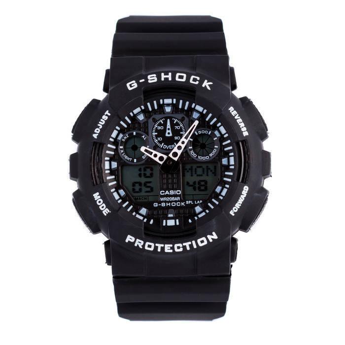 Спортивные мужские наручные часы годинник Casio G-Shock ga-100 Black-White Касио черно-белые, фото 2