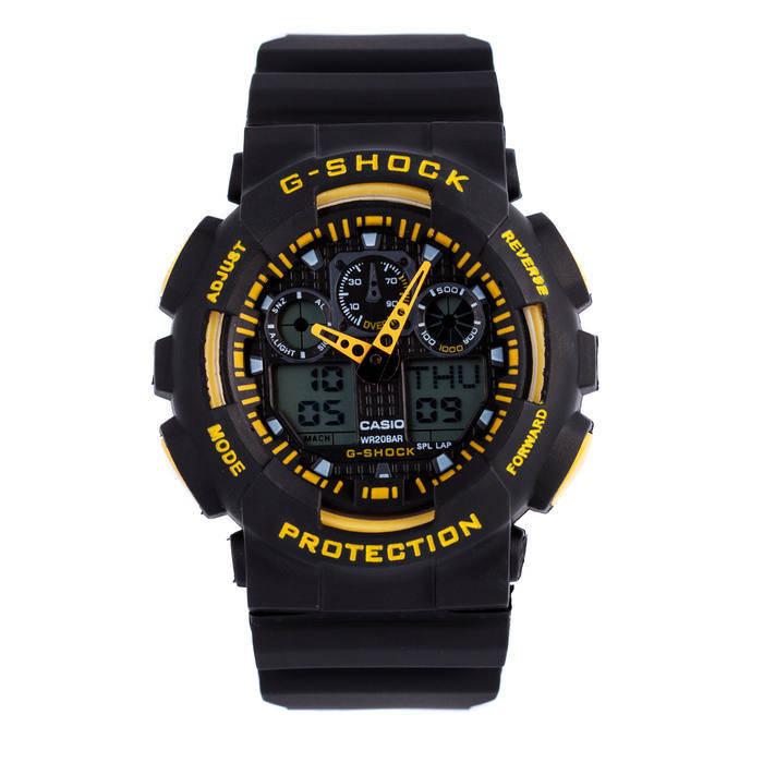 Спортивные наручные часы Casio G-Shock ga-100 Black-Уellow Касио, фото 2