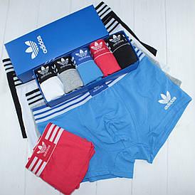 Мужские трусы боксеры транки Adidas Адидас хлопок 5 цветов 5 штук в подарочной упаковке