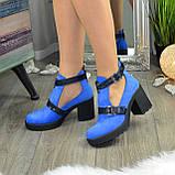 Ботильоны открытые замшевые женские на устойчивом каблуке, цвет электрик, фото 2