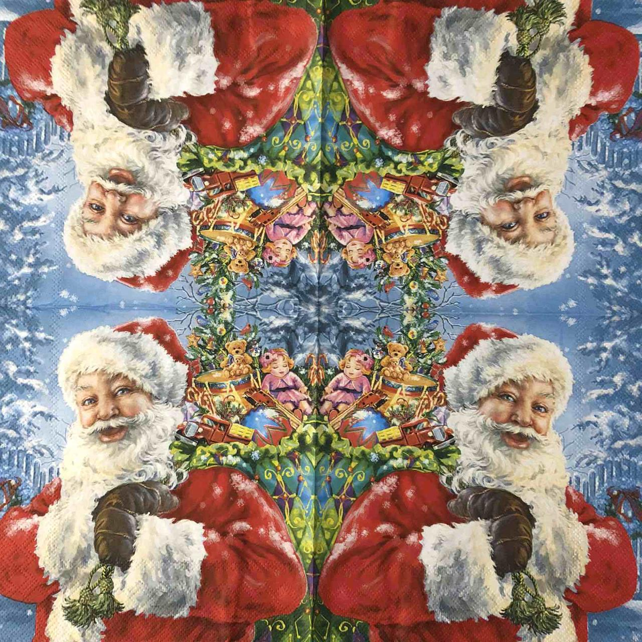 "Салфетка декупажная 33x33 см 27 ""Зима снег Санта Подарки Рождество Новый Год"" Серветка для декупажу Новорічна"