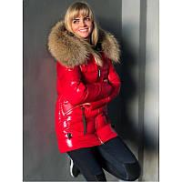 Красная женская куртка с натуральным мехом - енот