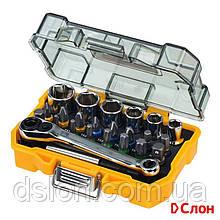Набор бит и головок DeWALT DT71516 24 шт ,Pz1, Ph1, T40, Hex 4, L=25 мм,   Hex,Torx, Philips, Pozidriv,
