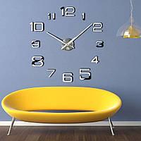 3Д Большие настенные дизайнерские часы 60-130 см ReD 4226,серебряного цвета