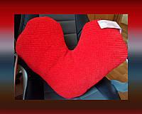 """Вязаная большая подушка """"СЕРДЦЕ"""" плюшевая интерьер дом подарок диванная уют трикотаж автосалон"""