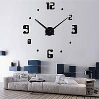 3Д Большие настенные дизайнерские часы 60-130 см ReD 4209, черного цвета