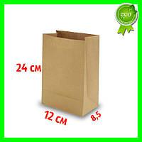 Бумажный Крафт пакет без ручек 120х85х240 (100шт). Прямоугольное дно