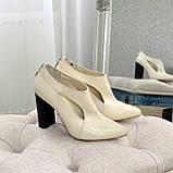 Ботильоны закрытые кожаные женские на устойчивом каблуке, фото 4