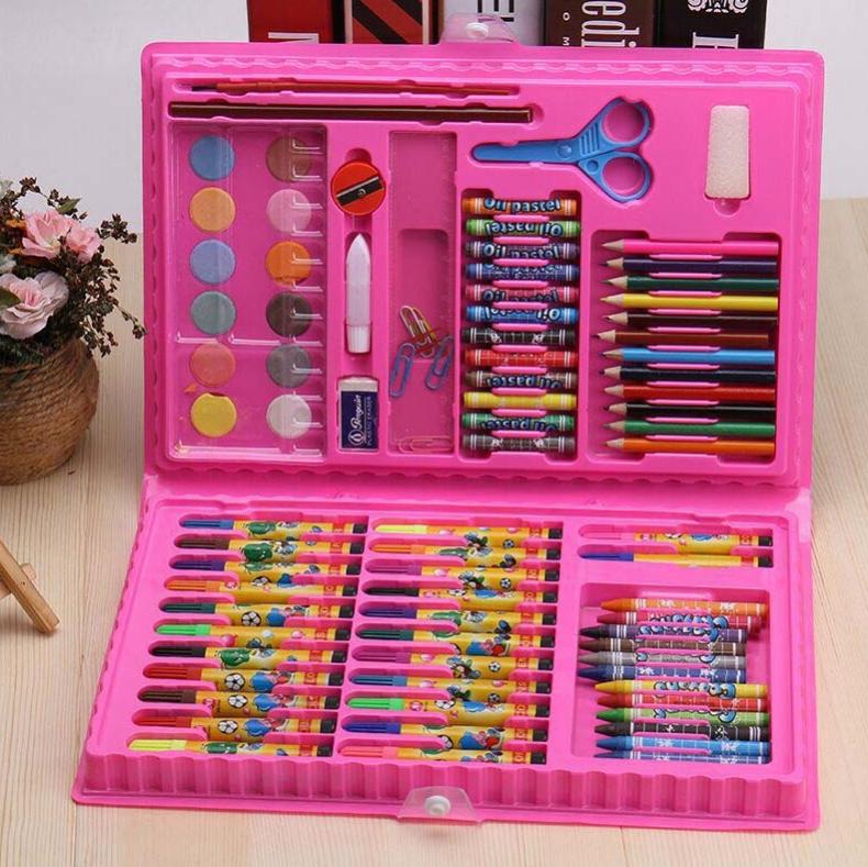 Художественный набор для рисования 86 предметов в подарочном кейсе Розовый