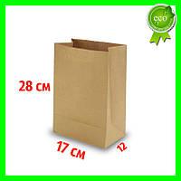 Бумажный Крафт пакет без ручек 170х120х280 (100шт). Прямоугольное дно