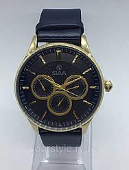 Часы Slava кварцевые синий/золото кожаный ремешок