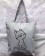 Эко сумка шоппер тканевая молодежная пляжная с котиком, фото 1