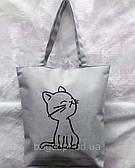 Эко сумка шоппер тканевая молодежная пляжная с котиком