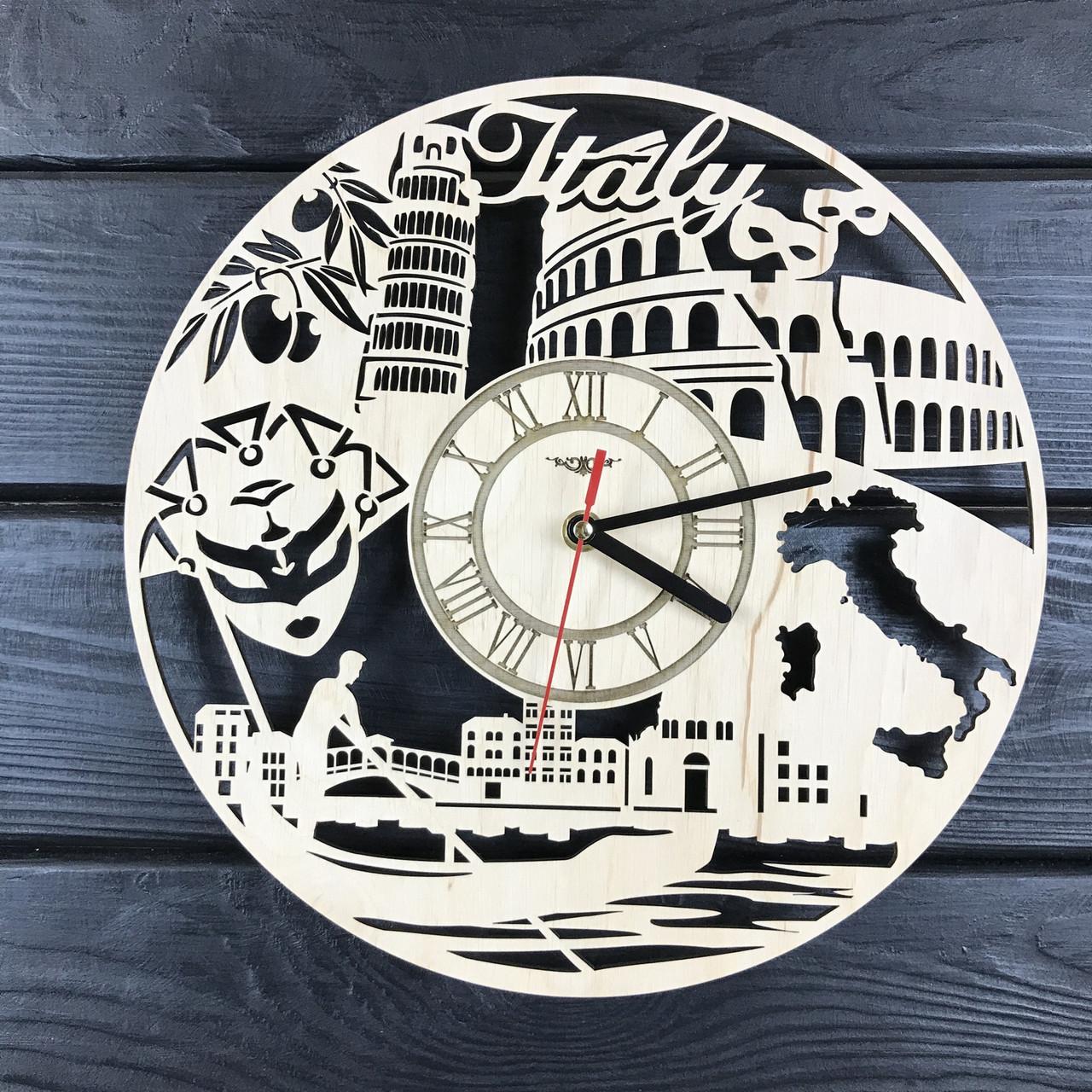Круглые дизайнерские деревянные часы «Жаркая Италия»