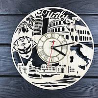 Круглые дизайнерские деревянные часы «Жаркая Италия», фото 1