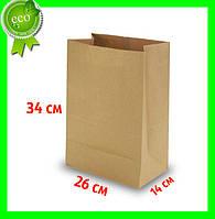 Бумажный Крафт пакет без ручек 260х140х340 (100шт). Прямоугольное дно
