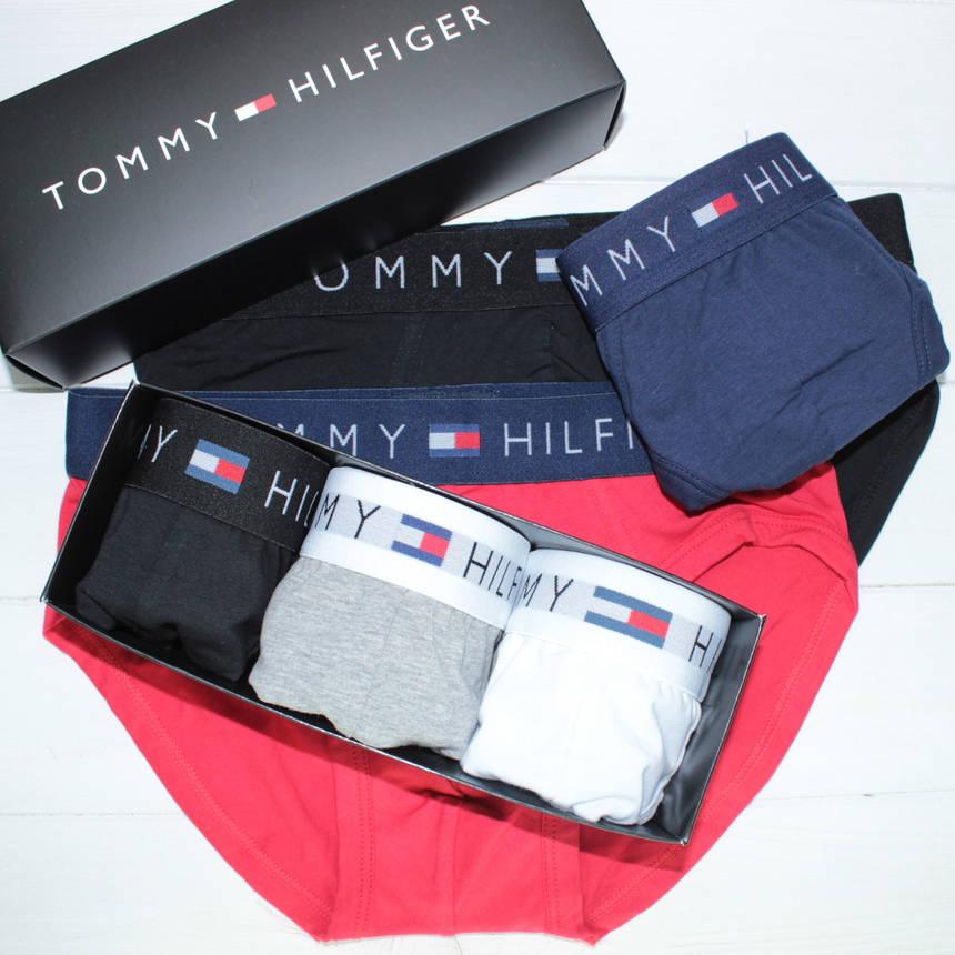Мужские трусы брифы слипы брендовые в подарочной упаковке хлопок 3шт, фото 2