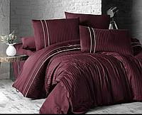 Комплект постельного белья Deluxe Satin Stripe Style Bordo First Choice Евро размер