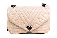 Итальянская женская сумка из натуральной кожи. Цвет: Бежевый, фото 1