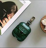 Противоударный чехол - Airpods Apple. Кожа (темно-зеленый), фото 1