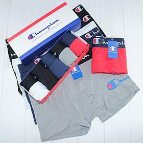 Мужские трусы боксеры транки шорты в подарочной упаковке Champion хлопок 5 цветов 5 шт
