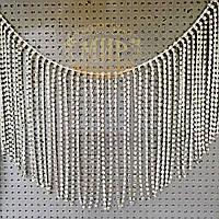 Стразовая цепочка-бахрома, цвет Crystal, высота 12 см*1м