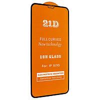 "Стекло 21D  iPhone X - ""Ультра тонкое"" black (tempered glass)"