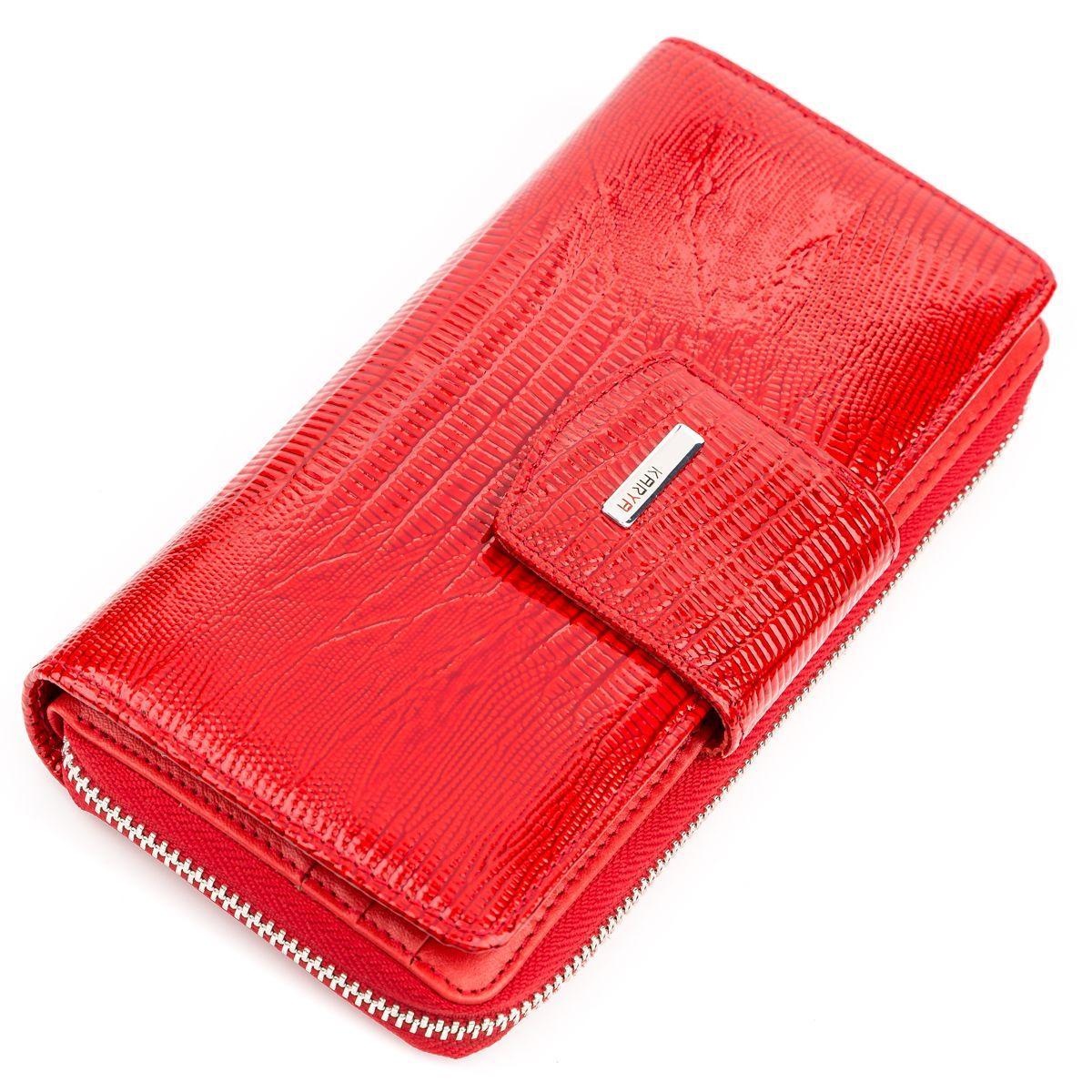 Портмоне женское KARYA 17183 кожаное Красное, Красный