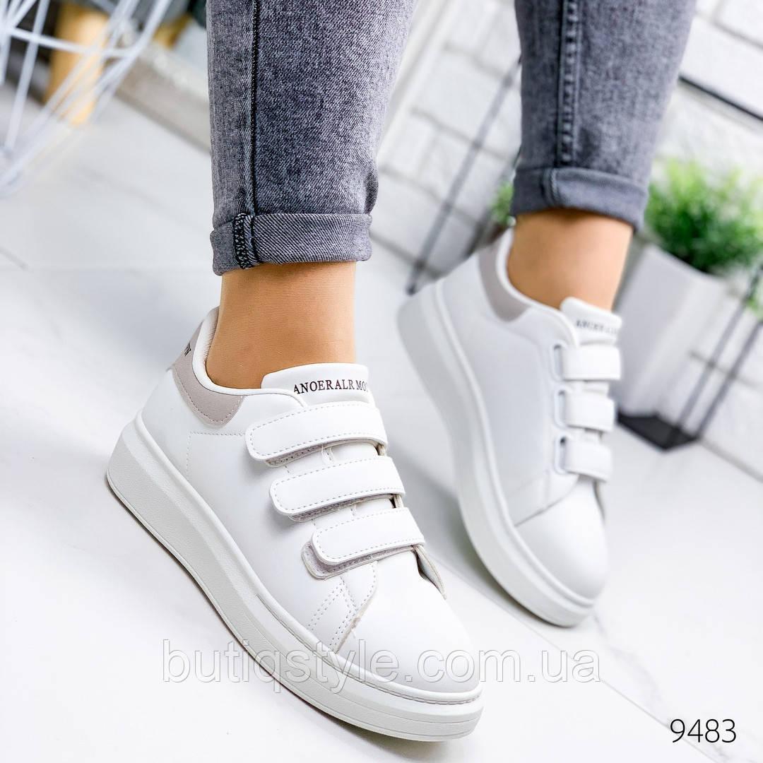 Женские кроссовки белые с серой пяточкой  эко-кожа на липучках