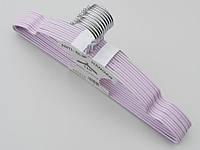 Плечики  тремпеля металлический в силиконовом покрытии нежно-сиреневого цвета, длина 40 см, в упаковке 10 штук