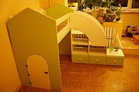 Кровать чердак Карлсон, массив дуб, ясень, ольха