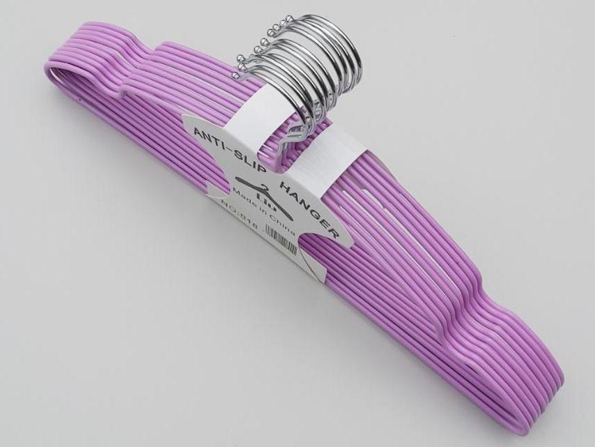 Плечики  тремпеля металлический в силиконовом покрытии сиреневого цвета, длина 40 см, в упаковке 10 штук
