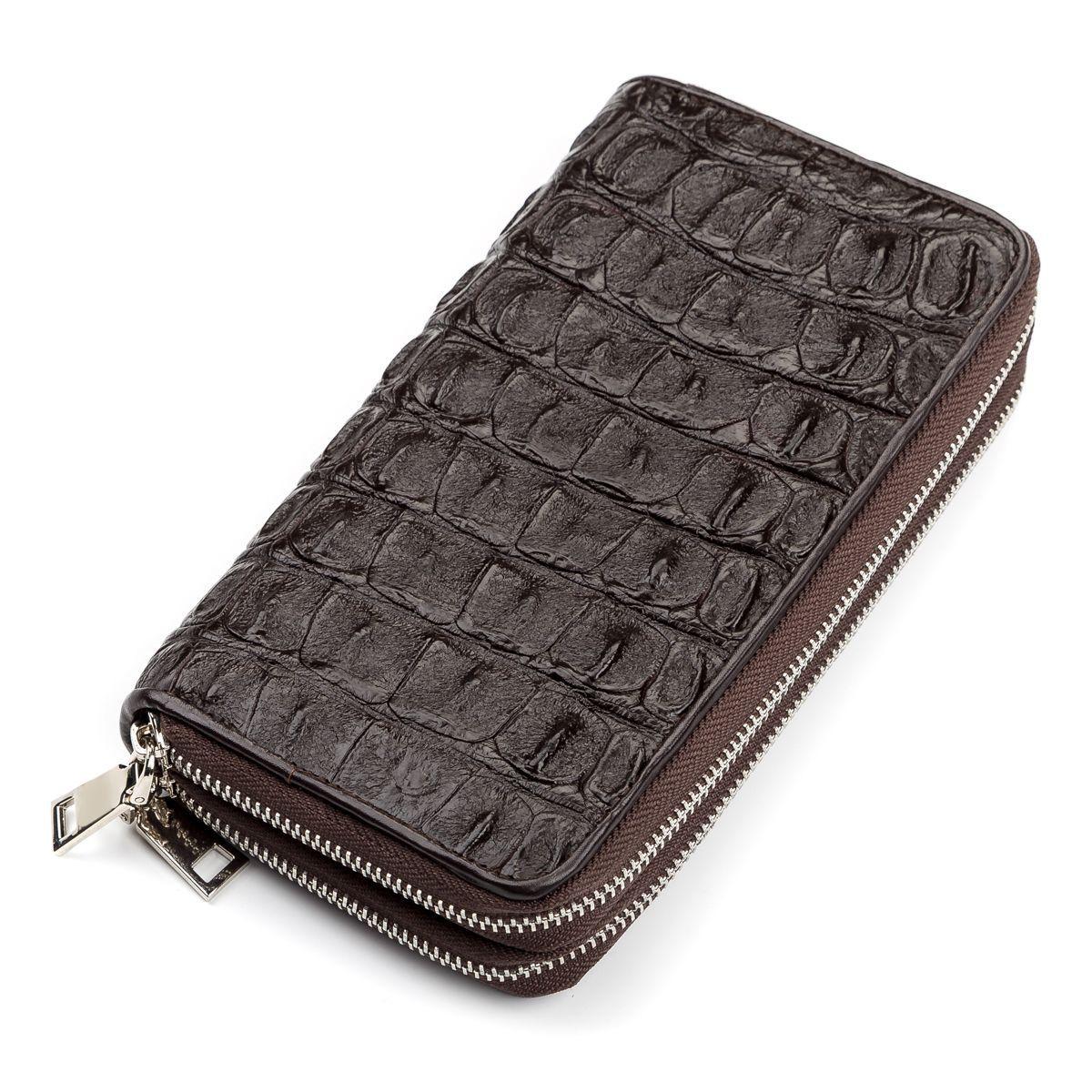 Мужской клатч CROCODILE LEATHER 18006 из натуральной кожи крокодила Коричневый, Коричневый