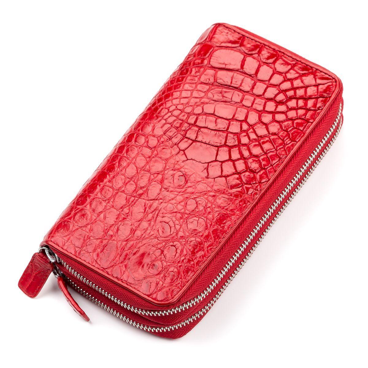 Кошелек- клатч женский CROCODILE LEATHER 18027 из натуральной кожи крокодила Красный, Красный